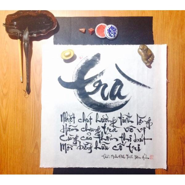 Bài thơ về trà của Minh Đức Triều Tâm Ảnh qua thư pháp Ngẫu Thư